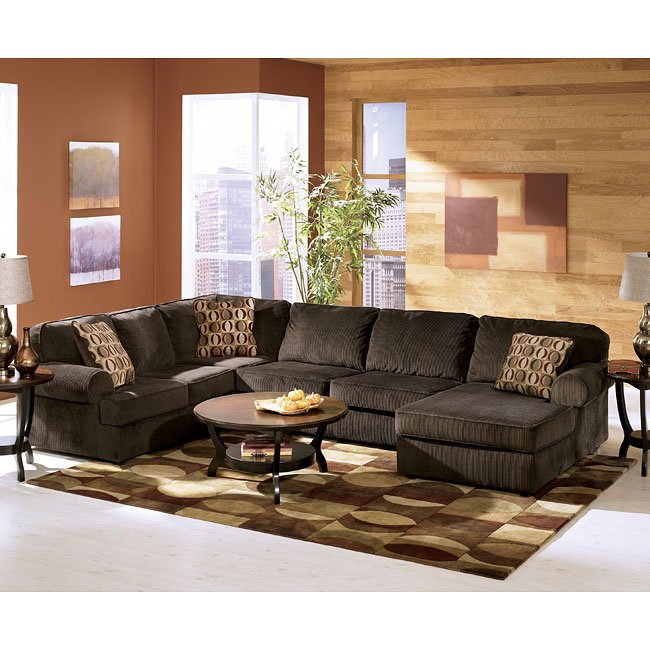 Vista chocolate sectional living room set signature - How to furnish a small bedroom ...