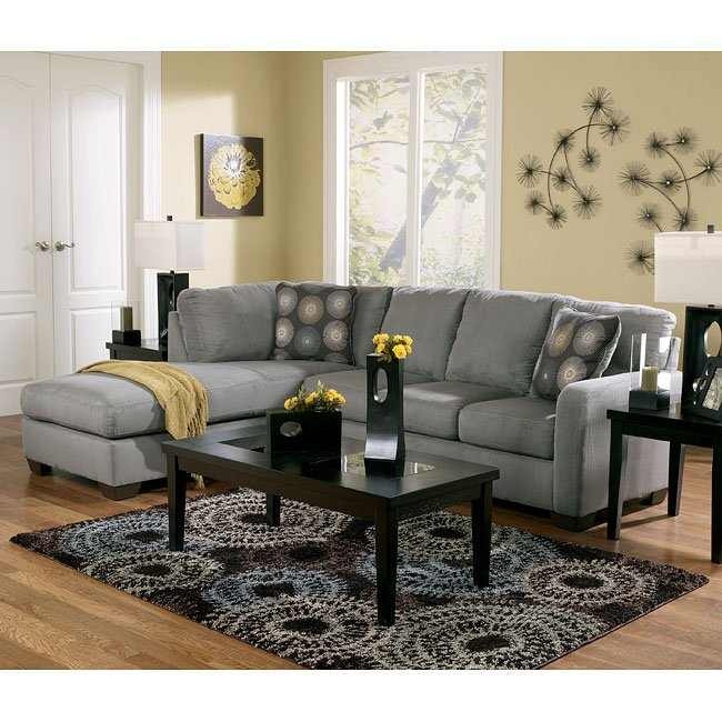 Zella Charcoal Sectional Living Room Set By Signature