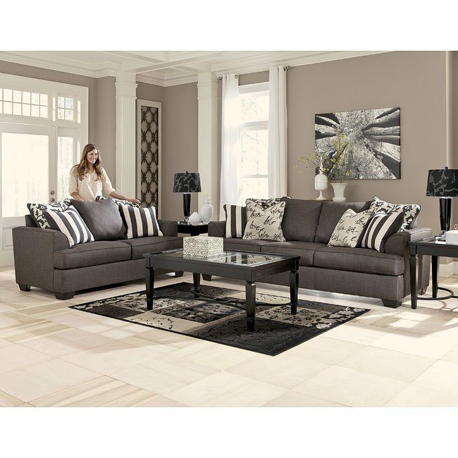Colorful Living Room Sets: Levon Charcoal Living Room Set By Signature Design By