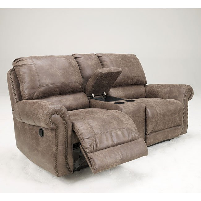 Oberson Gunsmoke Reclining Loveseat W Console And Power Signature Design By Ashley Furniture