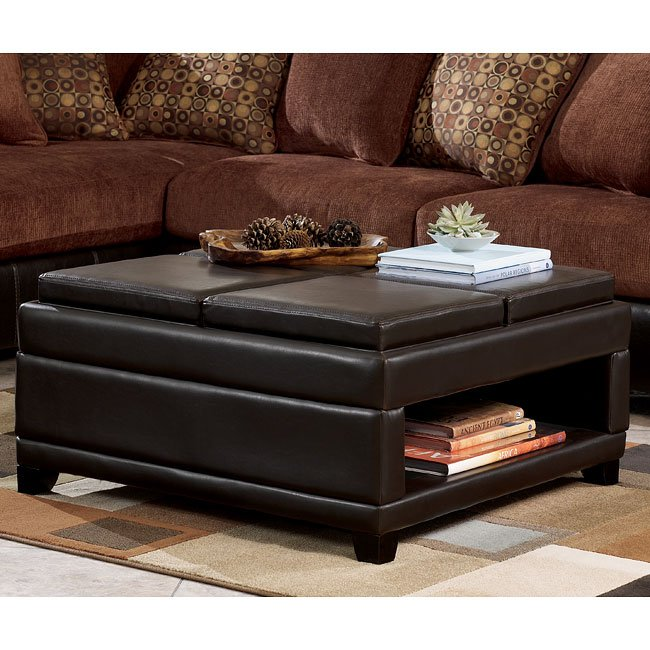 cody brown ottoman w storage and trays by signature design by ashley furniturepick. Black Bedroom Furniture Sets. Home Design Ideas