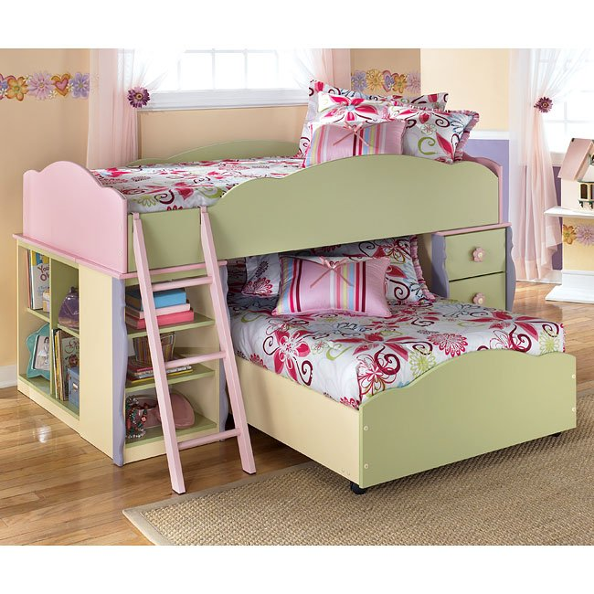Doll House Bedroom Set W Twin Over Twin Loft Bed
