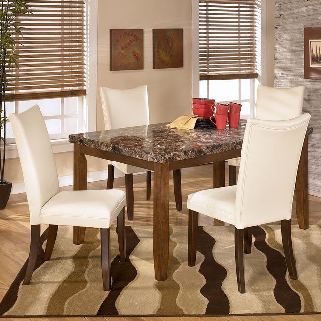 Lacey Dining Room Set With Charrell Ivory Chairs By