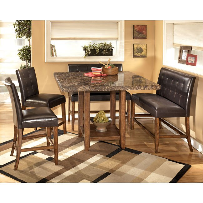 Lacey Counter Height Dining Room Set With Double Stools By