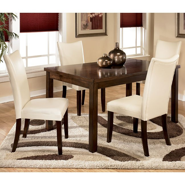 Charrell Rectangular Dining Room Set With Ivory Chairs By