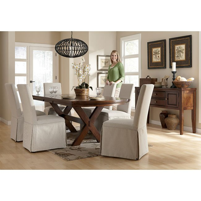 Burkesville Dining Room Set W/ Striped Slipcover Chairs By