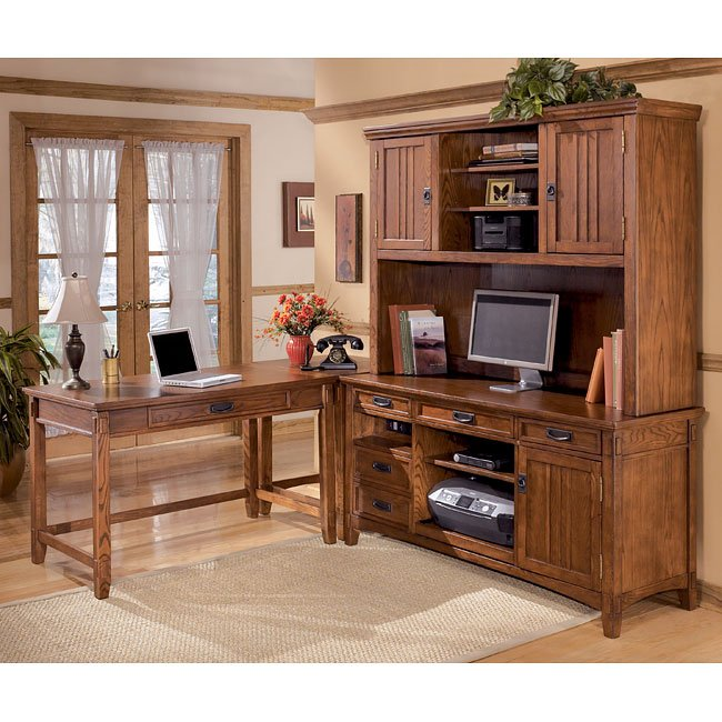 Cross Island Corner Home Office Set W/ Large Hutch And
