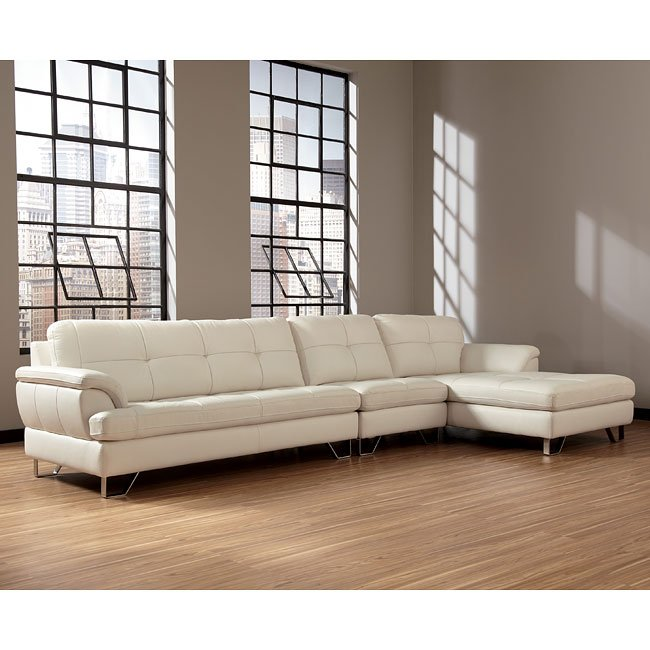 Large U Sectional Sofas: Gunter Brilliant White Large Sectional W/ Right Chaise By