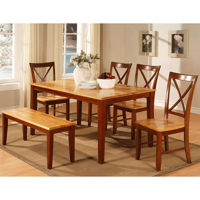 Cherry Dining Room Set: Two-Tone Cherry Dining Room Set By World Imports