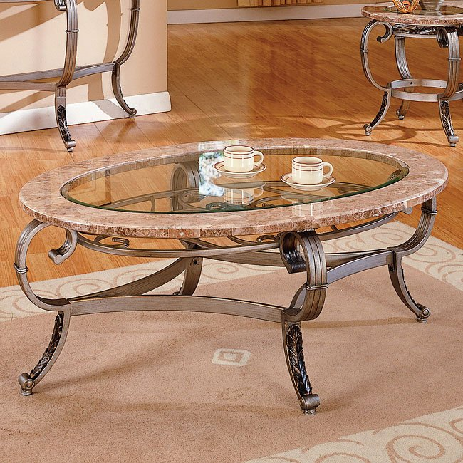 Marble And Glass Cocktail Table By World Imports