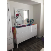 dresser with square mirror